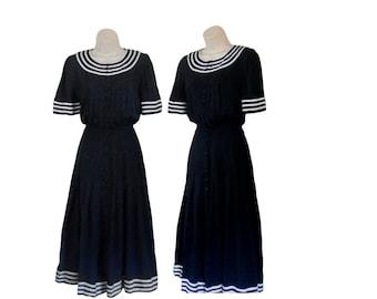 Vintage Sailor Dress Nautical Dress Blue White Dress Pinup Dress Long Dress Navy Blue Dress Button Up Dress Nautical Clothing Ladies 80s