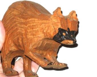 Vintage hand carved wood raccoon folk art animal