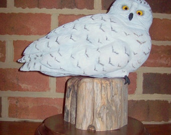 Carved Snowy Owl, Hand Carved Snowy Owl, Owl Carving