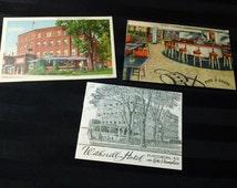 Hotel Witherill ~ Plattsburg, NY on Lake Champlain ~ vintage Mid-Century Travel Postcard Set of 2 Scenes and Rare Hotel Brochure