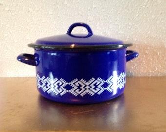 Vintage Blue and White Metal Enamel Pot, Vintage Dutch Oven, Schindler Stamp Pot, Vintage Metal Pot