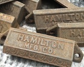 Hamilton Letterpress Printer Drawer Pull Hardware - metal drawer hardware - vintage industrial iron drawer pull - bin pull