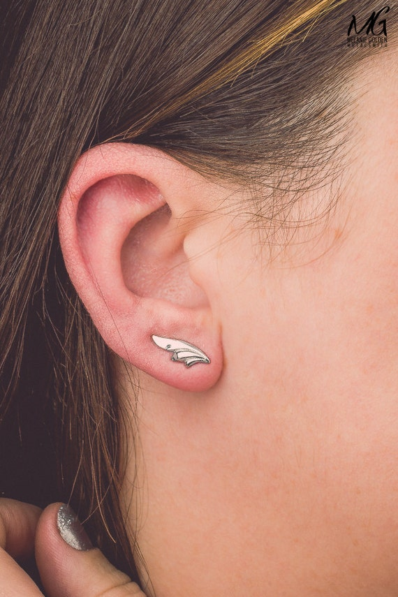 Stylized Leaf Ear Climbers - Pair of Sterling Silver ear crawler earrings - Leaves earrings, tree branch posts - Unique ear pins