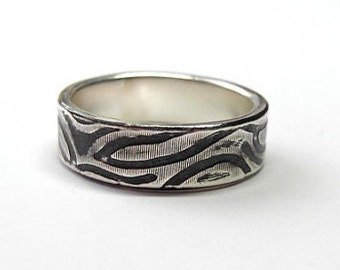 Zebra Ring, 3-4mm Recycled Sterling Silver, Stacking Ring, Oxidized or non-oxidized, Statement band
