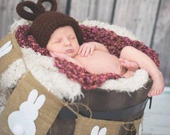 Baby Easter Hat, Crochet Baby Hat, Baby Bunny Hat, Easter Rabbit Hat, Easter Bunny Hat, Infant Hat