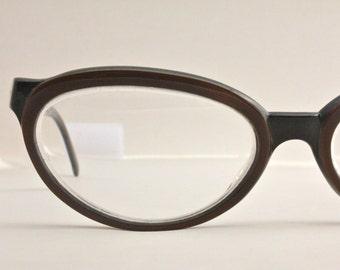 Vintage 50's AS IS Italian Dark Chocolate Cat Eye Eyeglasses Sunglass Frames