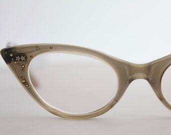Vintage 50's Damaged Starburst Atomic Rhinestone Cat Eye Eyeglasses, See Description