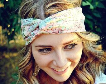 Pink Daisy Floral Turban, Twist Jersey Knit, Work Out Headband