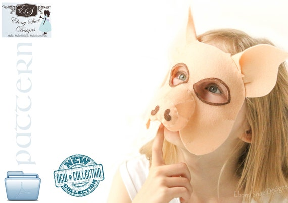 Kids Pig Mask PATTERN. Digital Sewing Pattern- Kids Pig Costume.