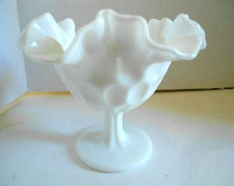 Ruffled White Milk Glass Compote by Westmoreland Glass Company  Weddings Decorations Milk Glass Centerpieces Party Gifts