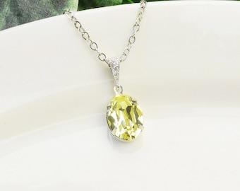 Yellow Necklace - Swarovski Crystal Necklace Silver - Teardrop Necklace - Bridesmaid Necklace - Wedding Jewelry - Bridesmaid Jewelry