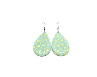 Aqua and Gold Tear Drop Earrings, Gold polka dots, Japanese Chiyogami Paper, Laser Cut Wood, Lightweight, Resin coat, pattern varies