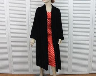 Vintage 1950s Velvet Swing Coat Long Bullocks Los Angeles Size Medium/Large