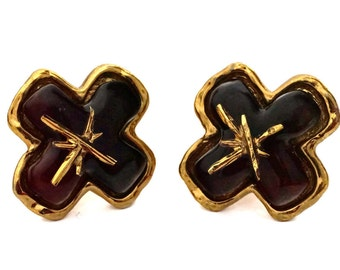 Vintage CHRISTIAN LACROIX Cross Resin Earrings
