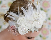 Bridal Headband-Beautifully accented with mother of pearl, swarowski beads, schlappen feathers and russian veiling