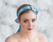 Bridal Headband ~  Ribbon Headband-Beautifully accented with vintage crystal buttons and blue blooms.