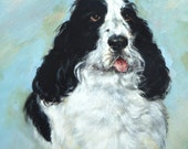 Spaniel Painting Oil on Board Toy Dog American Kennel Club Lap Dog Vintage Dog Painting Vintage Oil Painting Cocker Spaniel Black & White