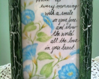 Morning Glories Original Colored Pencil Drawing With Beautiful Quote Displayed In A Recycled Frame