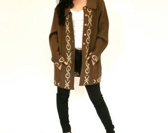 60's Vintage Women's Sweater Coat, Brown Sweater, Long Oversized Cardigan Sweater, Women's Medium