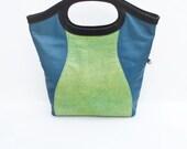 Spring Shopper Tote, Large Leather Shopper, Large Tote Bag, Green and Blue, Shagreen Stingray Embossed Bag
