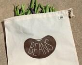 Produce Bag, Beans, Reusable Bag, Gift Bag, Linocut, Block Print