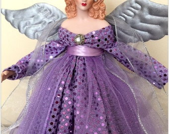 Christmas Angel Tree Topper Red Haired Lavender Angel TreeTop Holiday Decoration
