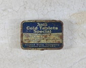Antique Rexall Cold Tablets Special Tin Box- Pill Box- 1920's Medical Advertising- Fun get well message gift- cheer up gift