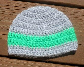 Grey Striped Hat, Baby Boy Hat, Crochet Infant Cap, Toddler Beanie, Kids Crochet Hat, Baby Stuff, Infant Item, Baby Boy, Newborn Crochet