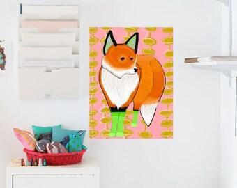 Fox Wearing Socks Poster / Decal Poster / 18x24 / Geometric / Animal Art / Removable Wallpaper