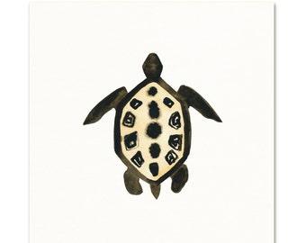 Tribal Sea Turtle Watercolor Art Print.
