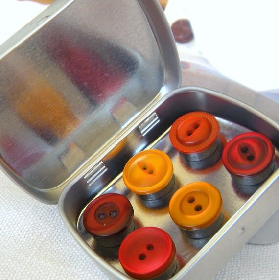 Six Mini Colorful Button Magnets in Hinged Metal Box, Refrigerator Magnets in Juicy Orange and Red,Decorative,Useful, Home Office, Message