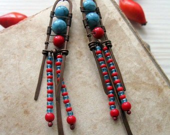 Long Dangle Wire Wrapped Bohemian Copper Earrings -  Turquoise and Red Earrings