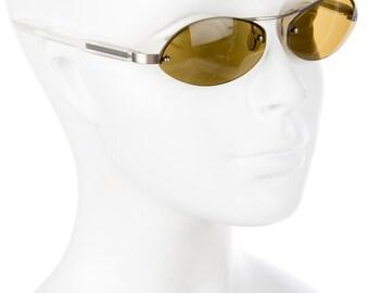 PRADA Futuristic / Sci Fi Minimal Silver Oval Eye 90s Frameless Vintage Designer Sunglasses - Editorial Worthy!