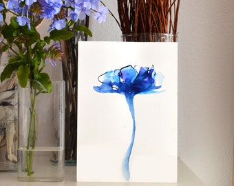 A5 Original blue ink flower drawing on paper -tulip art drawing modern ink floral spring wall art wall decor blue ink dark painting