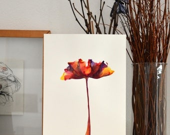A4 Original Tulip ink drawing on paper- modern ink art wall decor wall art floral colorful art flower spring wall