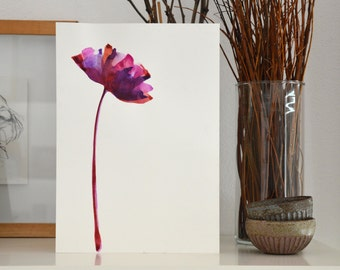 Original A4 floral ink painting- Ink art wall decor minimal modern colorful pink original painting  nature inspired by Cristina Ripper