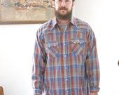 Vintage Plaid Western Shirt Men's Large Metallic Thread DEE CEE