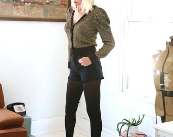 Vintage Metallic Cardigan Gold and Black Puff Shoulder