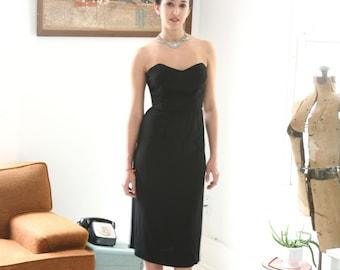 Closing SALE Vintage  50s Couture Jacques Griffe Black Strapless Dress Sheath Vionnet Designer