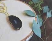 Black Agate Druzy Necklace // Gold // Long Necklace // Boho Chic