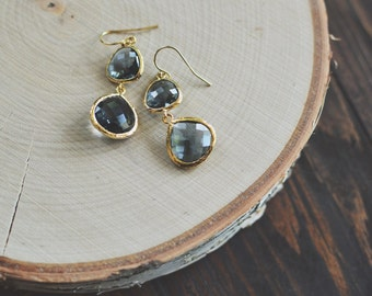 Double Charcoal Dangle Earrings // Gray // Faceted Glass // Gold Filled // Bridesmaid Earrings