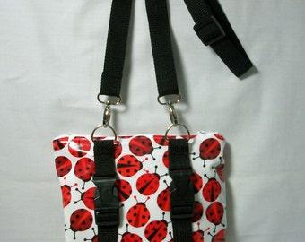 Lady Bugs Handlebar Convertible Pouch - Clutch - Hipster Bag - Crossbody Bag