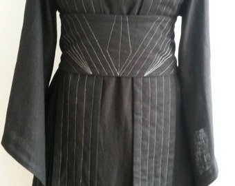 Made to order: Black linen Star Wars inspired Jedi robe, tunic, gown wrapdress costume cosplay larp pagan  pixie SF