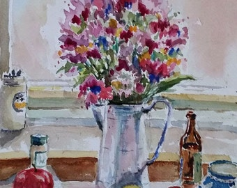 Flowers and Fruit - copy of a Charles Reid painting