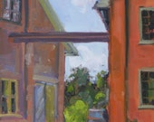 Original Urban Landscape Plein Air Oil Painting. Small painting. Colorful affordable wall decor. Contemporary. Modern.