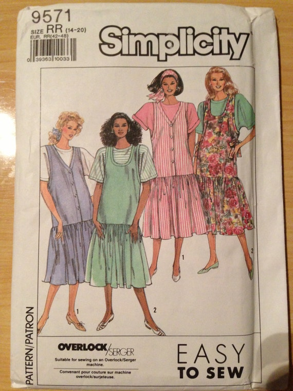 Misses and Miss Petite Maternity Jumpers and Pullover Top Simplicity Sewing Pattern 9571 90s Size 14-20 Uncut