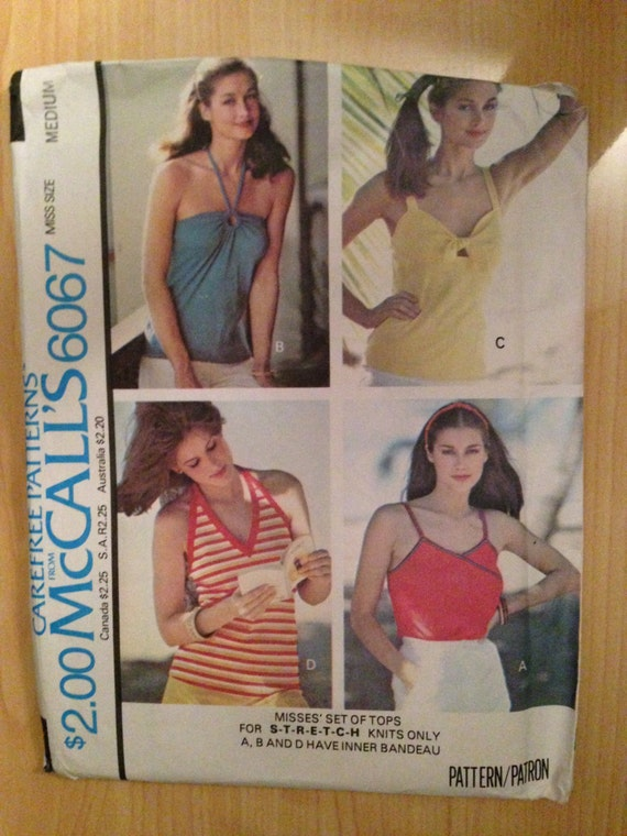 Vintage 70s McCalls 6067 Sewing Pattern Misses Set of Tops Uncut Size 14-16