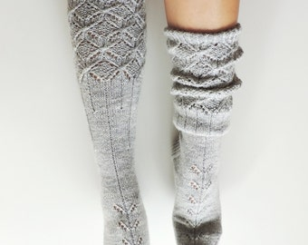 Grey boot socks. Grey knee high socks. Hand knit lace wool socks. Knit socks. Pastel grey socks. Grey leg warmers. Christmas gift for her