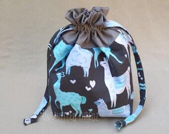 Drawstring Project Bag, Llama Alpaca Project Bag, Sock Knitting Project Bag