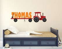 Tractor Wall Decal, Tractor Name Decal Personalized, Tractor Name Decal, Nursery Name Decal